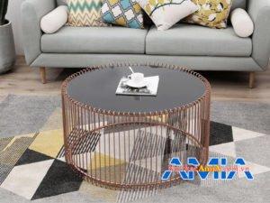 Mẫu bàn trà sofa BTR163 mặt kinh tròn hiện đại