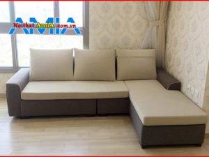 Hình ảnh ghế sofa nỉ đẹp viền tay nổi SFN200