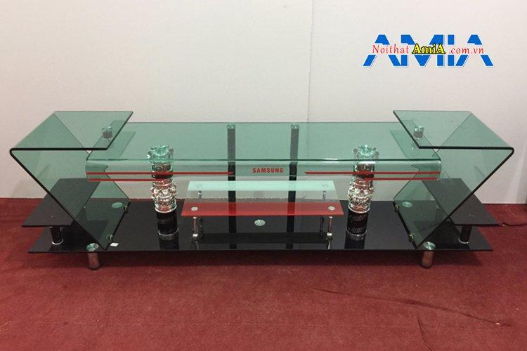 Hình ảnh mẫu kệ tivi bằng kính đẹp KTV211 được uốn cong hình số 7