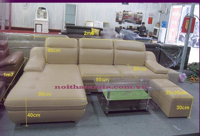 Kích thước bộ sofa góc chữ L làm theo yêu cầu