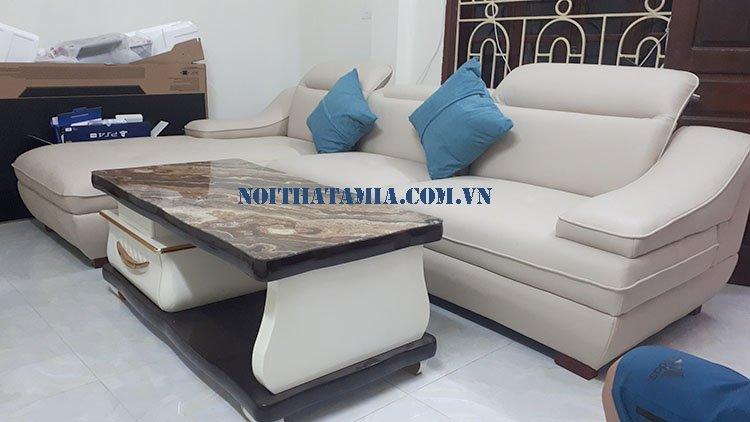Hình ảnh sofa SFD 097 da được thiết kế góc chữ L