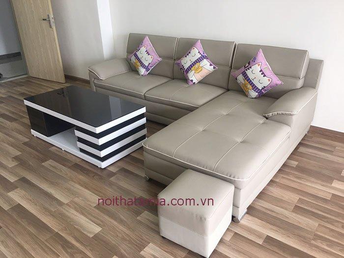 Hình ảnh ghế sofa góc chữ L nổi viền sang trọng cho phòng khách