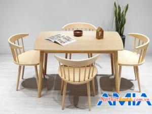 Bộ bàn ghế ăn màu vân gỗ BA343 thiết kế 4 chỗ ngồi hiện đại
