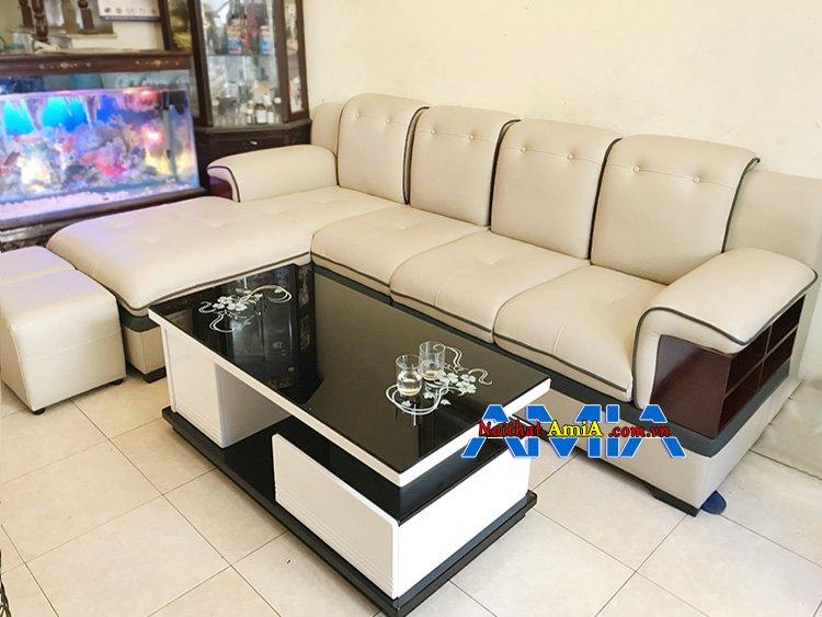 Hình ảnh sofa tay ốp gỗ kiểu chữ L SFD 157