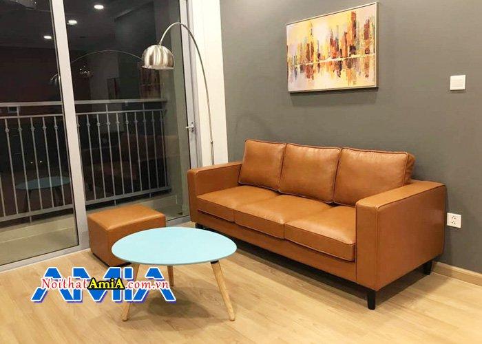 Hình ảnh ghế sofa phòng khách cao cấp với da màu cam nổi bật SFV 1355