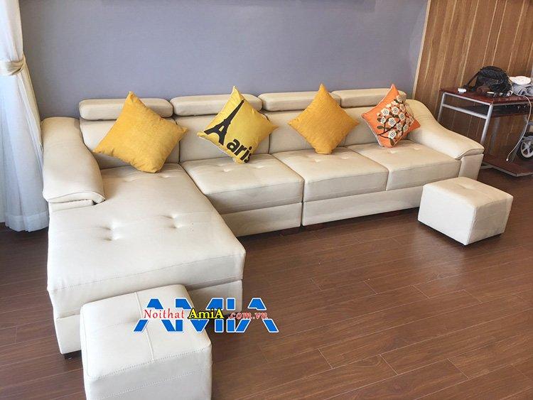 Hình ảnh mẫu ghế sofa góc chữ Lmàu kem đẹp SFD 157