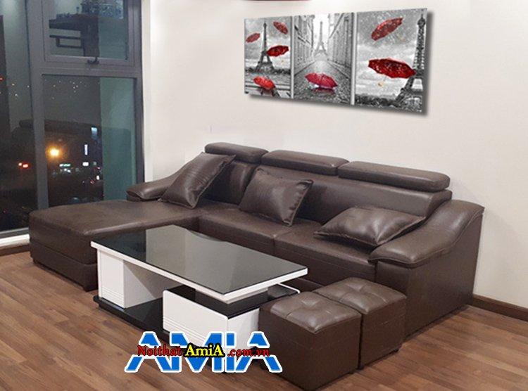 Hình ảnh mẫu sofa da đẹp cho phòng khách SFD 158