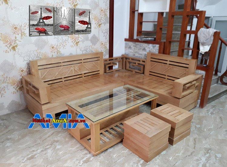 mua sofa gỗ kê phòng khách kiểu chữ L SFG 011