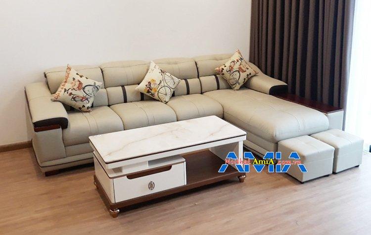 Mua sofa góc chữ L màu kem đẹp