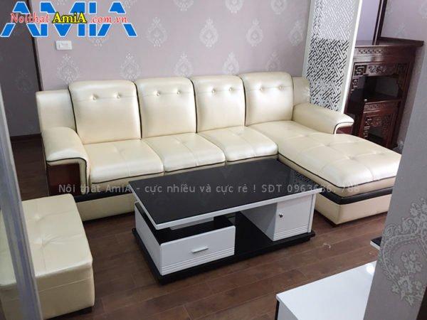 Sofa góc chữ L màu da kem đẹp