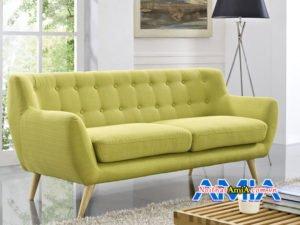 Mẫu ghế sofa nỉ dạng văng được rút khuy rất nổi bật SFN163