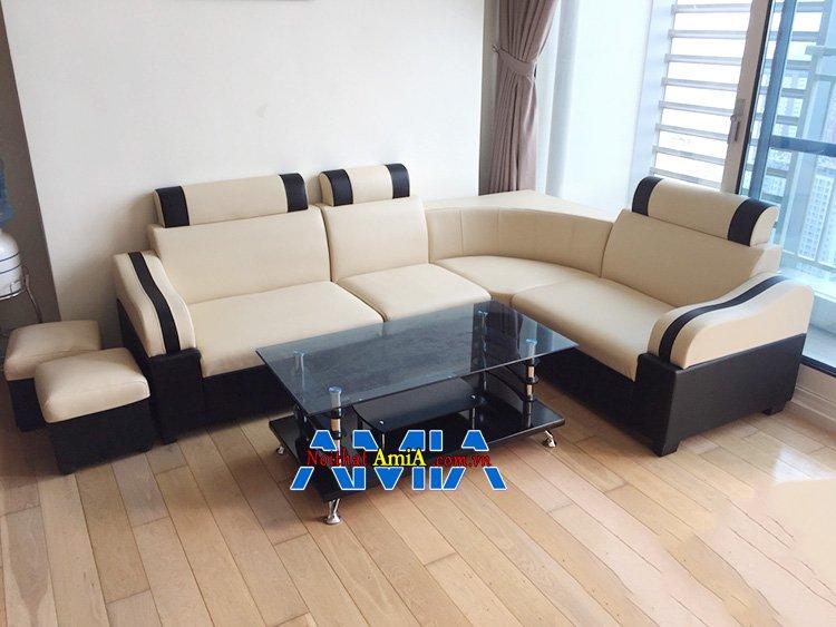 Hình ảnh Bàn ghế sofa giá rẻ đẹp dạng sofa da góc nhỏ AmiA SFD074