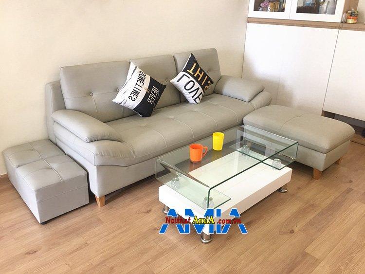 Hình ảnh Bàn ghế sofa nhỏ gọn giá rẻ Hà Nội kiểu dáng ghế sofa văng da cực bán chạy