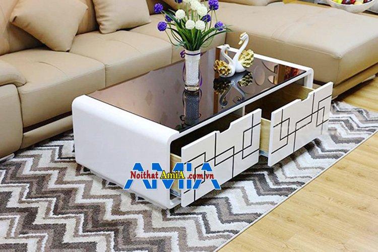Hình ảnh Bàn uống trà bằng gỗ kính đẹp hiện đại thiết kế hình chữ nhật