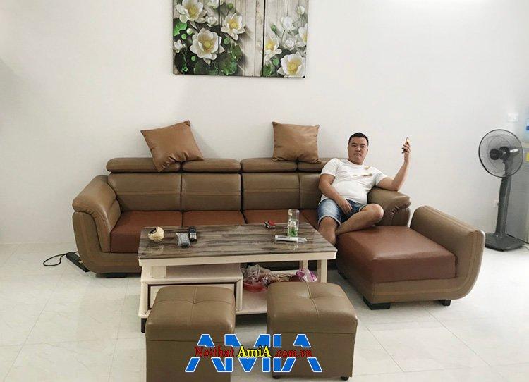 Hình ảnh Bộ ghế sofa da đẹp phòng khách sang trọng, hiện đại