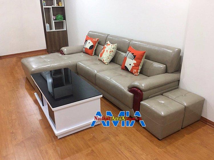 Hình ảnh Bộ sofa da góc phòng khách hiện đại AmiA SFD224 thiết kế hình chữ L
