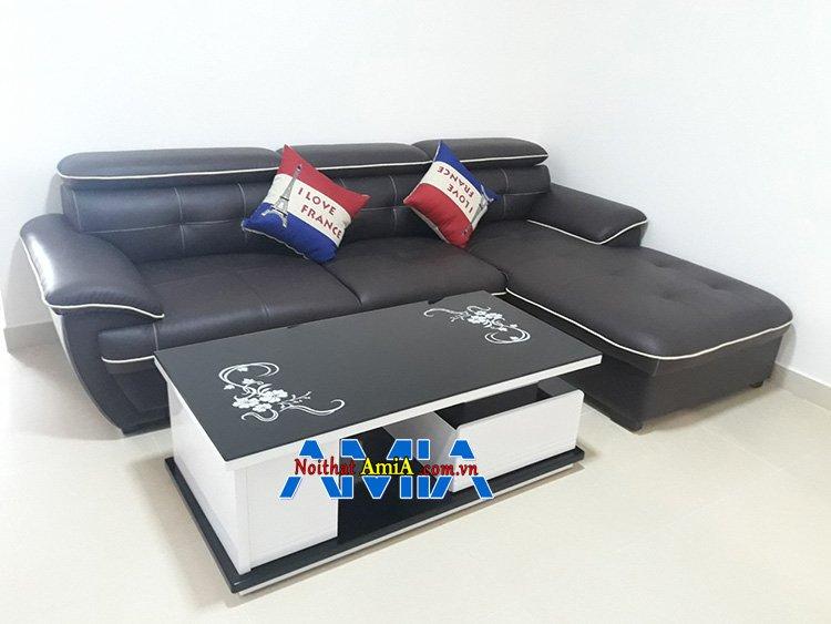Hình ảnh Bộ sofa góc chữ L màu đen sang trọng cho phòng khách đẹp hiện đại 197