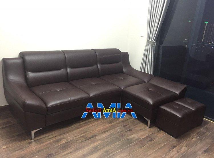 Hình ảnh Bộ sofa góc đẹp phòng khách hiện đại 211 với gam màu nâu đen sang trọng