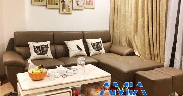 Hình ảnh Ghế sofa chữ L chất liệu da hiện đại cho phòng khách đẹp gia đình