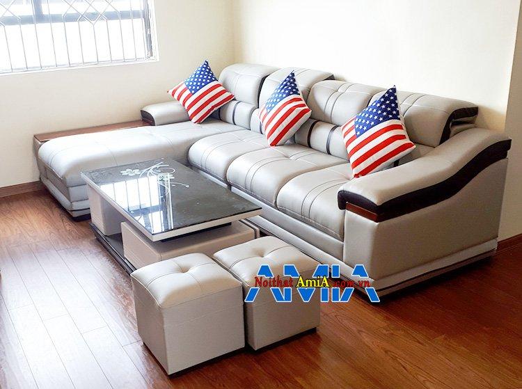 Hình ảnh Ghế sofa da đẹp chữ L kê phòng khách AmiA SFD179 được yêu thích