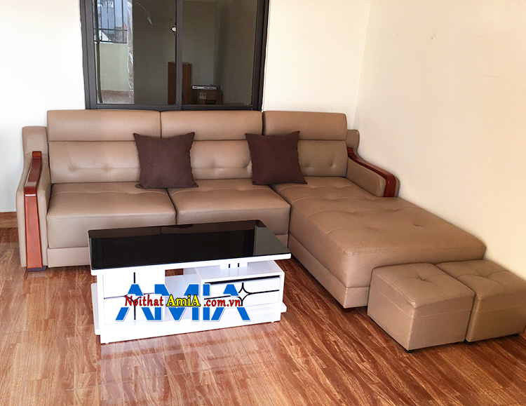 Hình ảnh Ghế sofa góc nhỏ đẹp hiện đại bài trí sát tường và tận dụng diện tích góc căn phòng