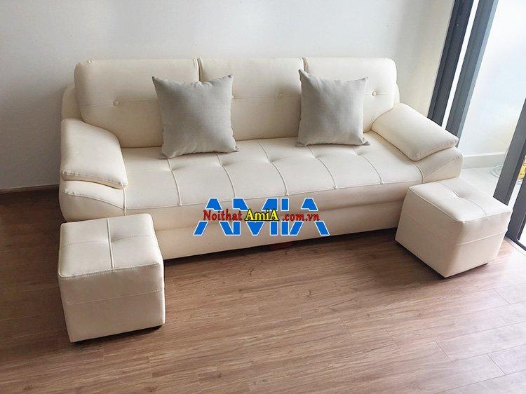 Hình ảnh Ghế sofa nhỏ mini kích thước nhỏ gọn màu trắng sữa đẹp hiện đại