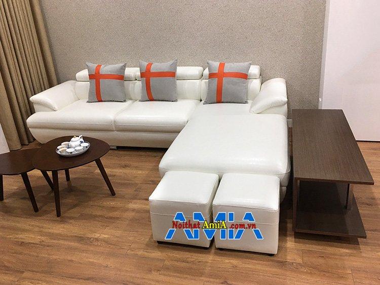 Hình ảnh Mẫu sofa góc đẹp kích thước nhỏ gọn bài trí sát tường tiết kiệm diện tích căn phòng