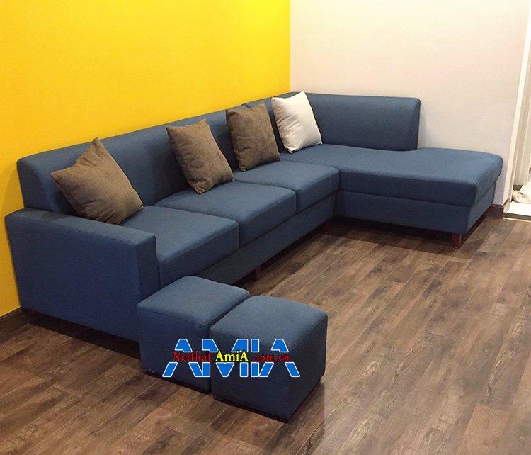 Hình ảnh Sofa chữ L nỉ phòng khách hiện đại với gam màu xanh cô ban