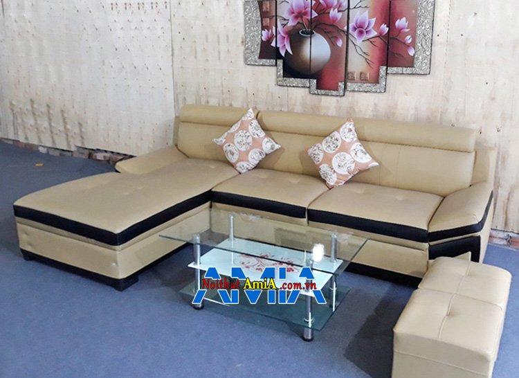 Hình ảnh Sofa da chữ L đẹp phòng khách hiện đại, sang trọng