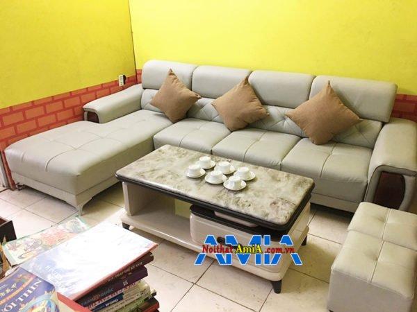Hình ảnh Sofa da góc chữ L phòng khách đẹp AmiA SFD193 hiện đại và sang trọng