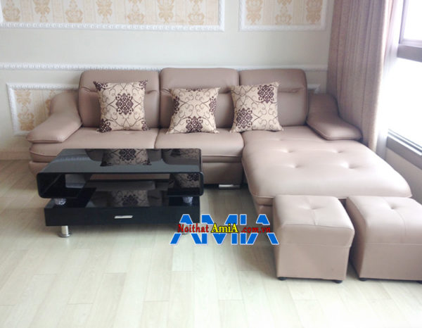 Hình ảnh Sofa da hiện đại đẹp cho phòng khách tận dụng diện tích góc căn phòng AmiA SFD097