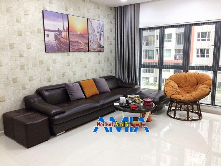 Hình ảnh Sofa da nhập khẩu cao cấp đẹp sang trọng màu đen cho nhà chung cư