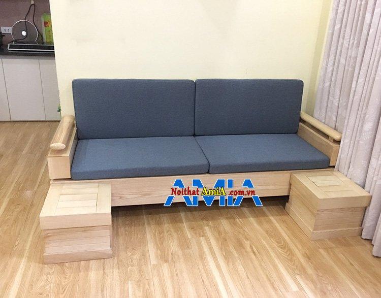 Hình ảnh Sofa gỗ nhỏ mini đẹp Hà Nội có phần đệm nỉ êm ái thật hiện đại