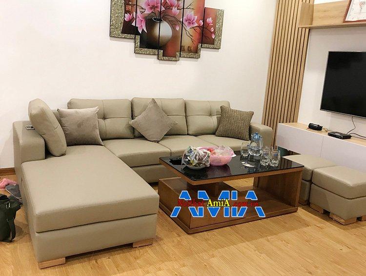 Hình ảnh Sofa góc da phòng khách đẹp hình chữ L hiện đại