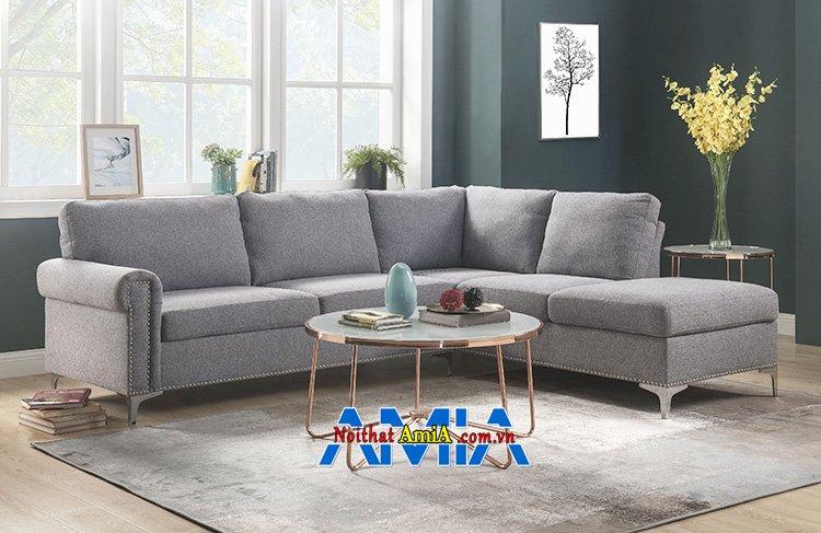 Hình ảnh Sofa góc đẹp nỉ phòng khách hiện đại thiết kế trẻ trung