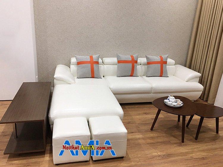 Hình ảnh Sofa góc nhỏ đẹp màu trắng hiện đại giá rẻ tại Hà Nội