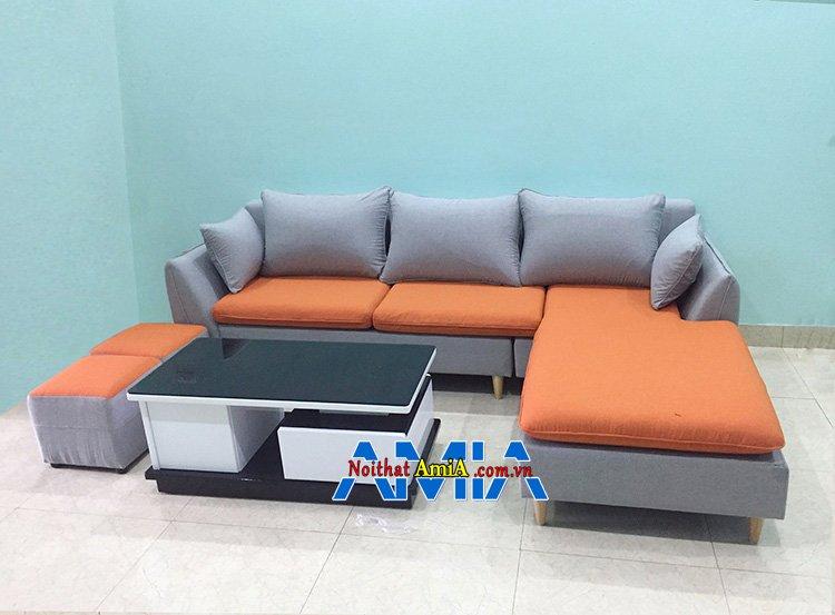 Hình ảnh Sofa góc nhỏ gọn hình chữ L với chất liệu nỉ đẹp hiện đại màu cam nổi bật