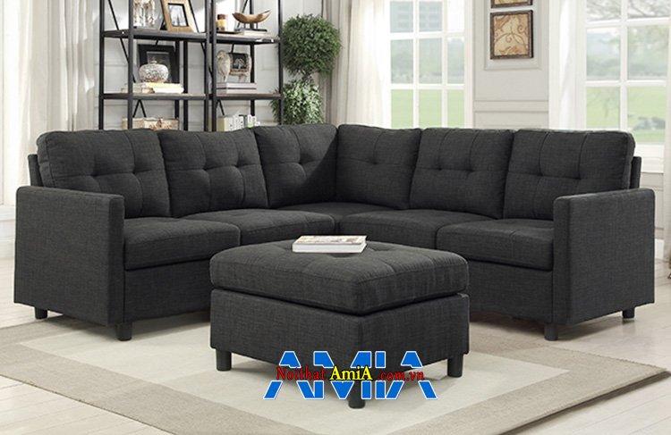 Hình ảnh Sofa góc nhỏ phòng khách đẹp chất vải nỉ màu sẫm