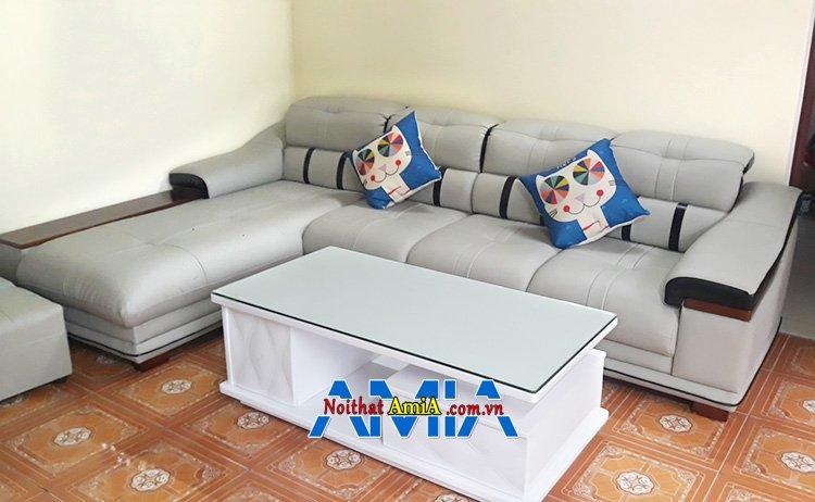 Hình ảnh Sofa góc phòng khách chất liệu da hiện đại