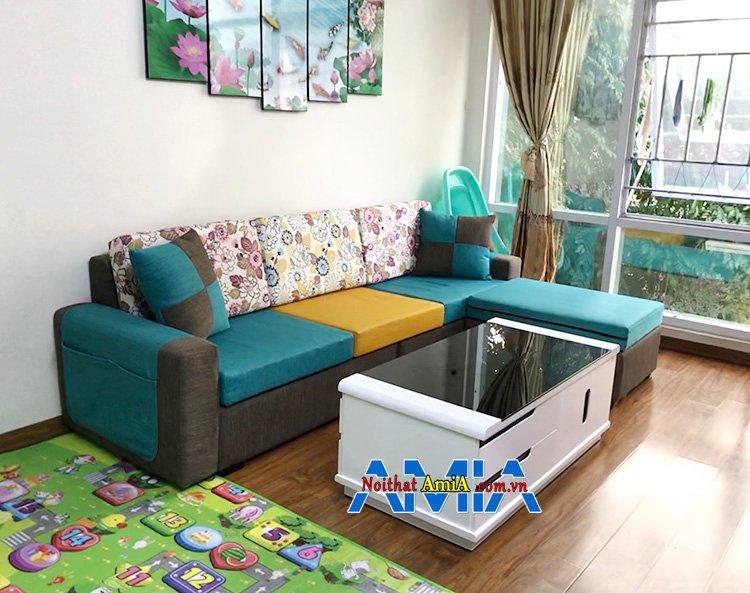 Hình ảnh Sofa góc phòng khách nhà chung cư đẹp với màu sắc nổi bật