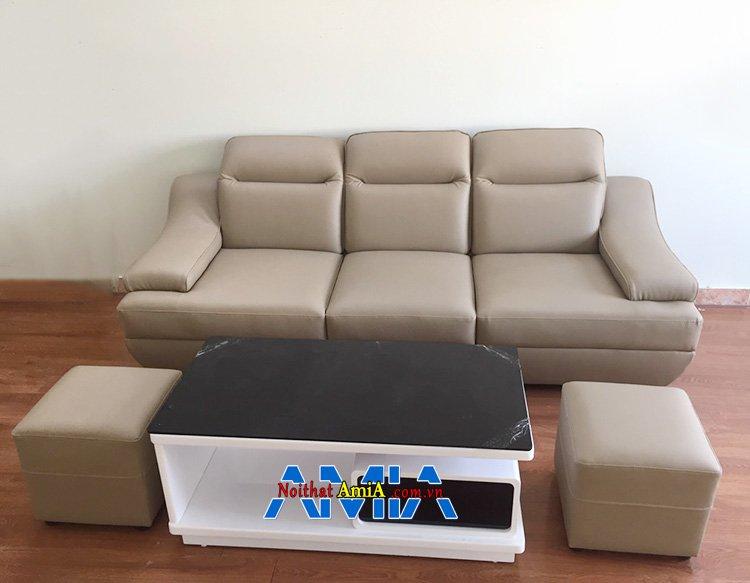 Hình ảnh Sofa nhỏ gọn tiết kiệm diện tích phòng khách với kiểu dáng ghế sofa văng da