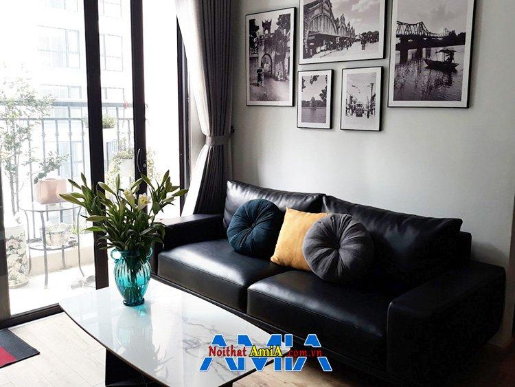 Hình ảnh Sofa văng da màu đen cho chung cư nhỏ rất đẹp và sang