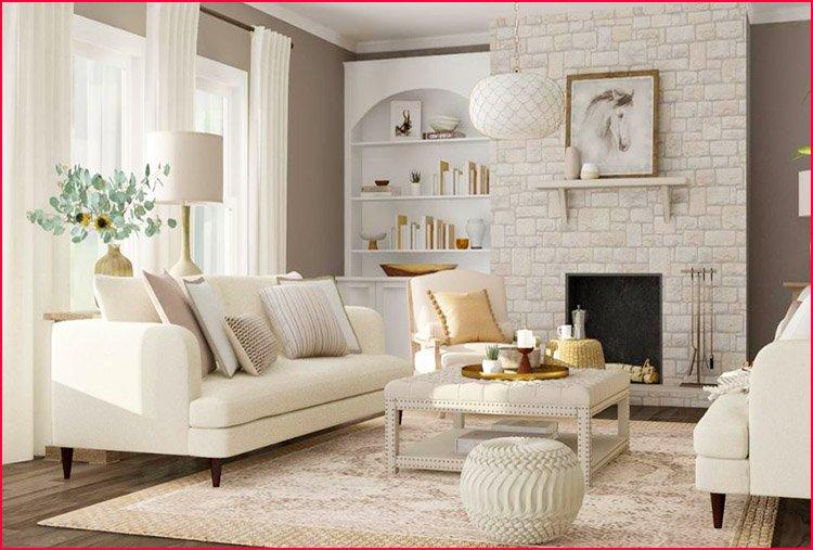 Bài trí sofa văng sang trọng trong phòng khách nhà biệt thự