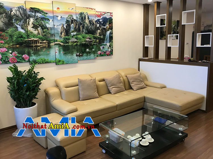 Mẫu bàn ghế sofa chung cư hiện đại có tựa gật gù ấn tượng