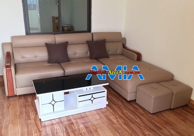 Mẫu bàn ghế sofa chung cư tay ốp gỗ kiểu mới