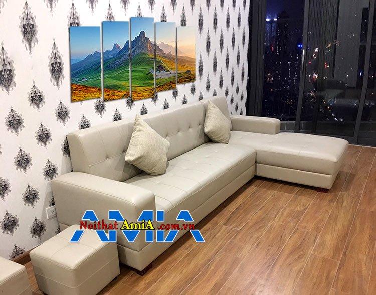 Mẫu bàn ghế sofa chung cư tay vuông đơn giản