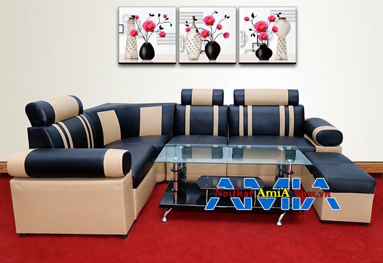 Bộ sofa da đẹp dạng góc giá rẻ đen pha kem