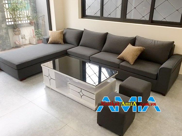 Bộ ghế sofa nỉ chữ L hiện đại phong cách Hàn Quốc AmiA SFN200
