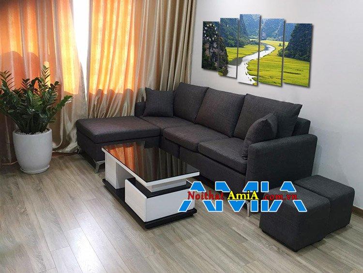 Bộ ghế sofa nỉ góc L đẹp cho phòng khách nhỏ gọn