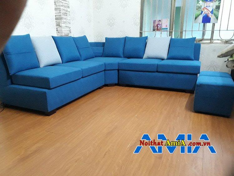 Bộ sofa nỉ góc tay vuông vắn kết hợp nhiều chỗ ngồi SFN165
